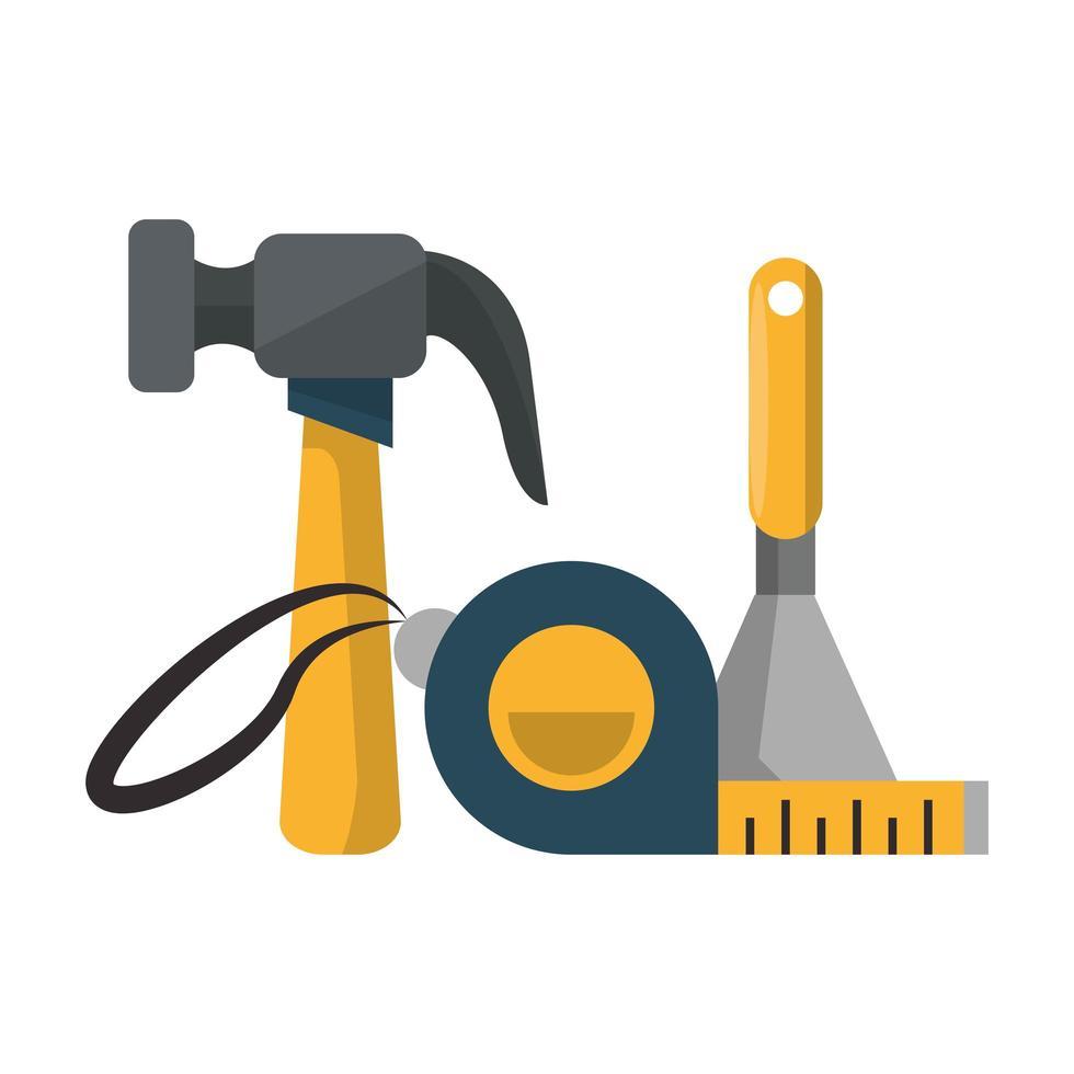 set gereedschappen, hamer, meetlint en troffel vector