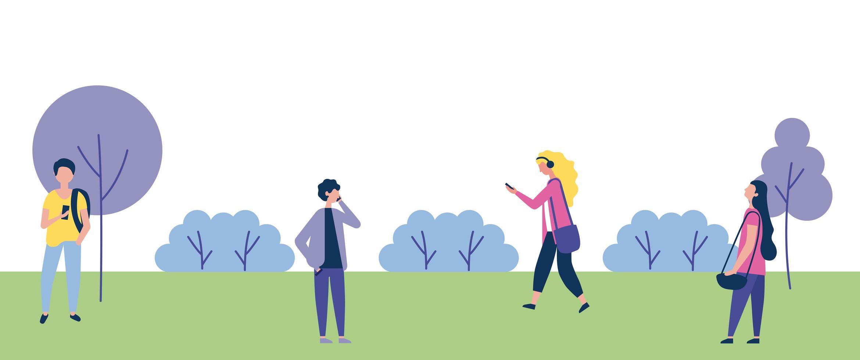 gente caminando al aire libre en el parque vector
