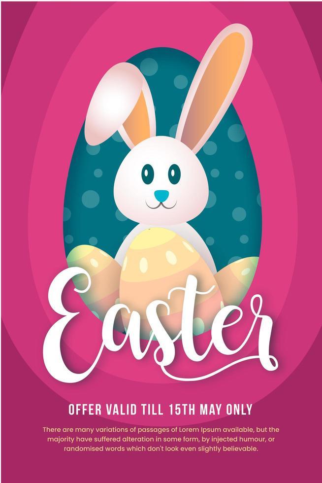 cartel de oferta de pascua con conejo y huevos en rosa vector