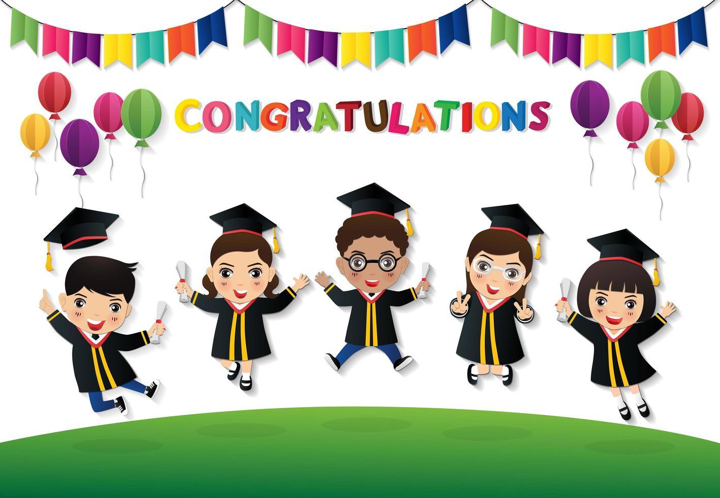 studenti felici saltando con diploma vettore