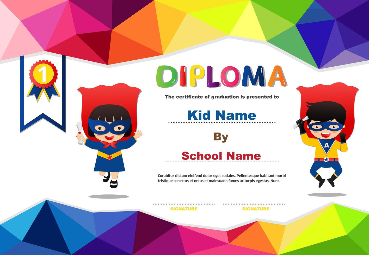 diploma di poligona supereroi prescolare per bambini vettore