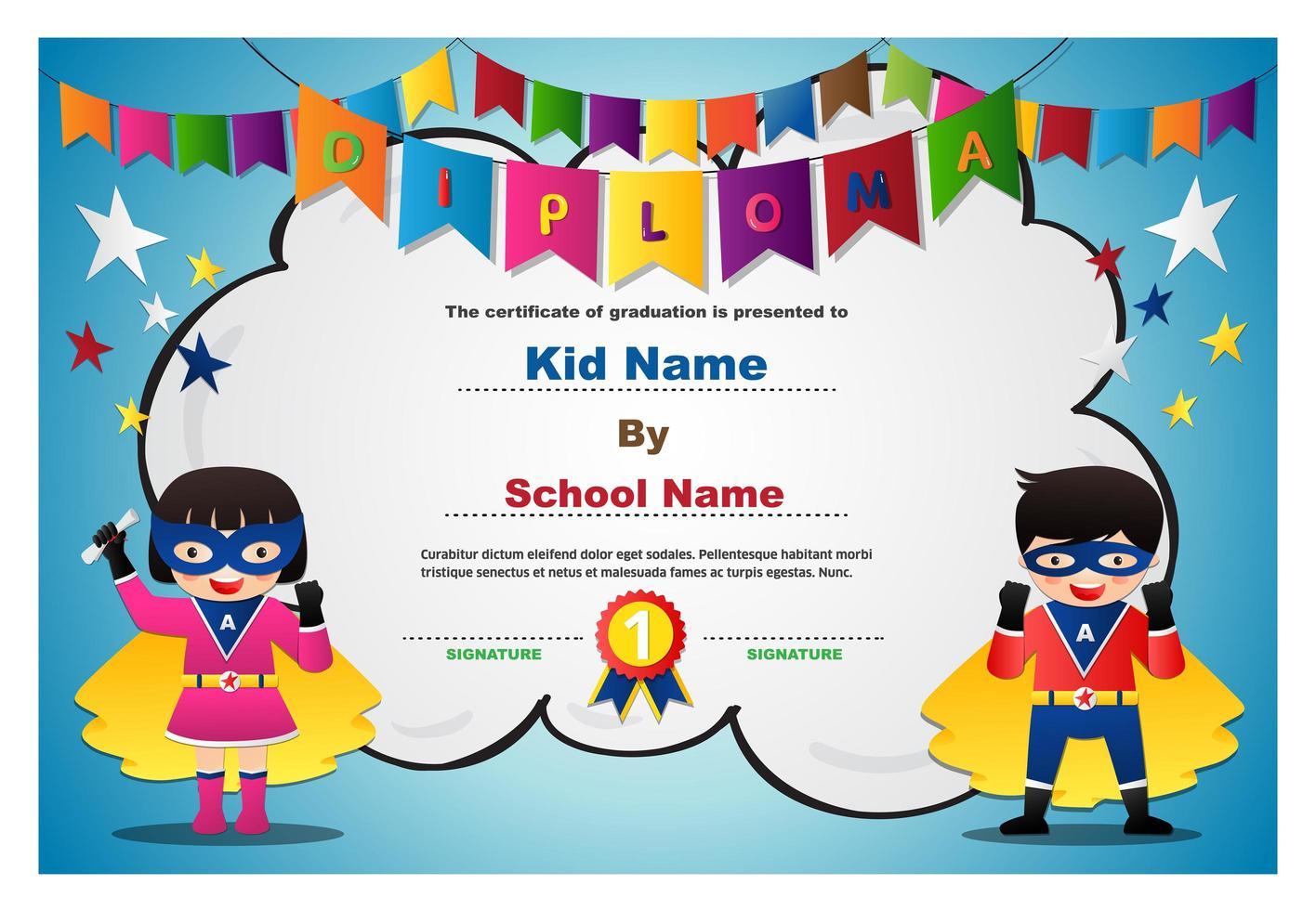 projeto de diploma de crianças e guirlanda de super-herói vetor
