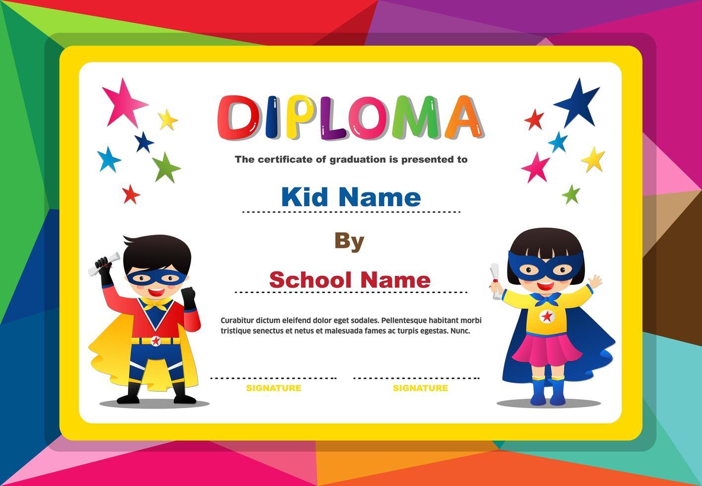 polygon design diplom med superhjälte pojke och flicka vektor