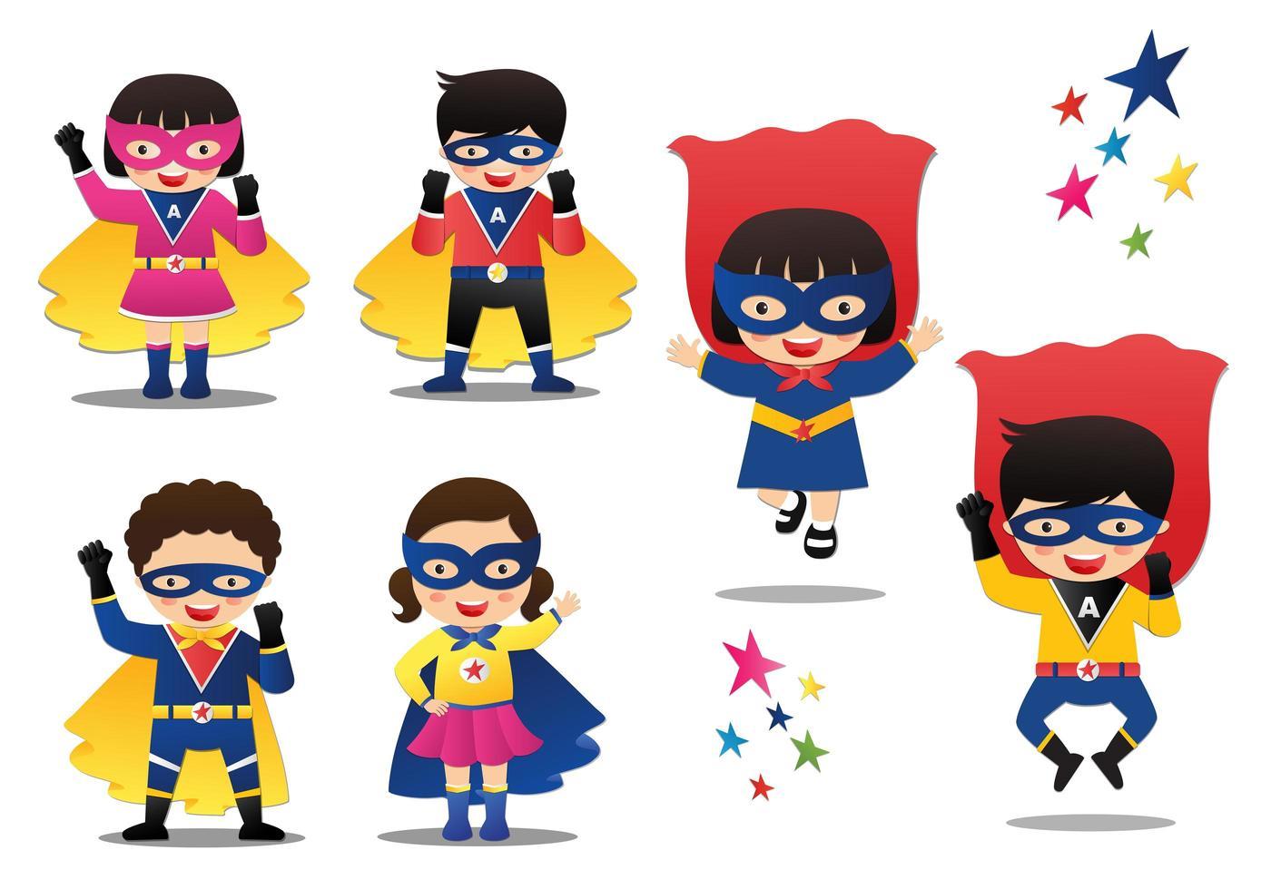Superhero Boys and Girls Set vector
