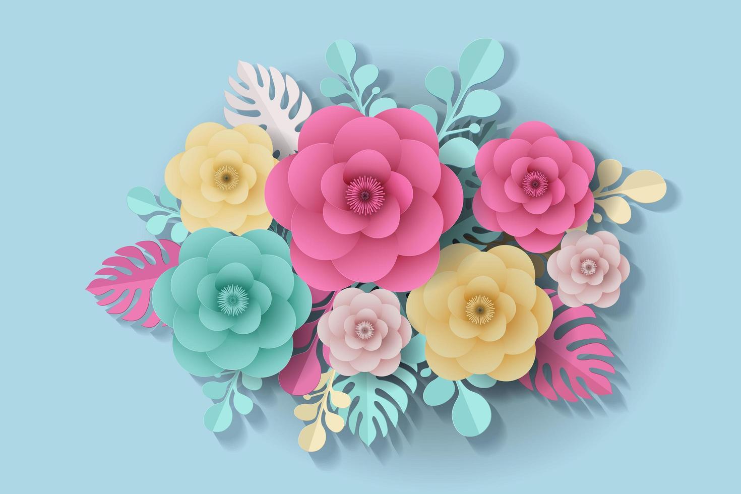 flores de colores y hojas en papel cortado estilo vector