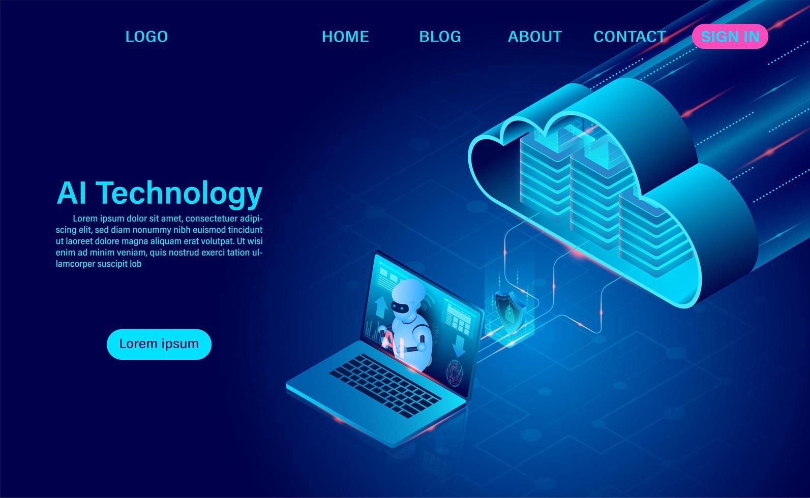robot de inteligencia artificial y página de inicio de tecnología en la nube vector
