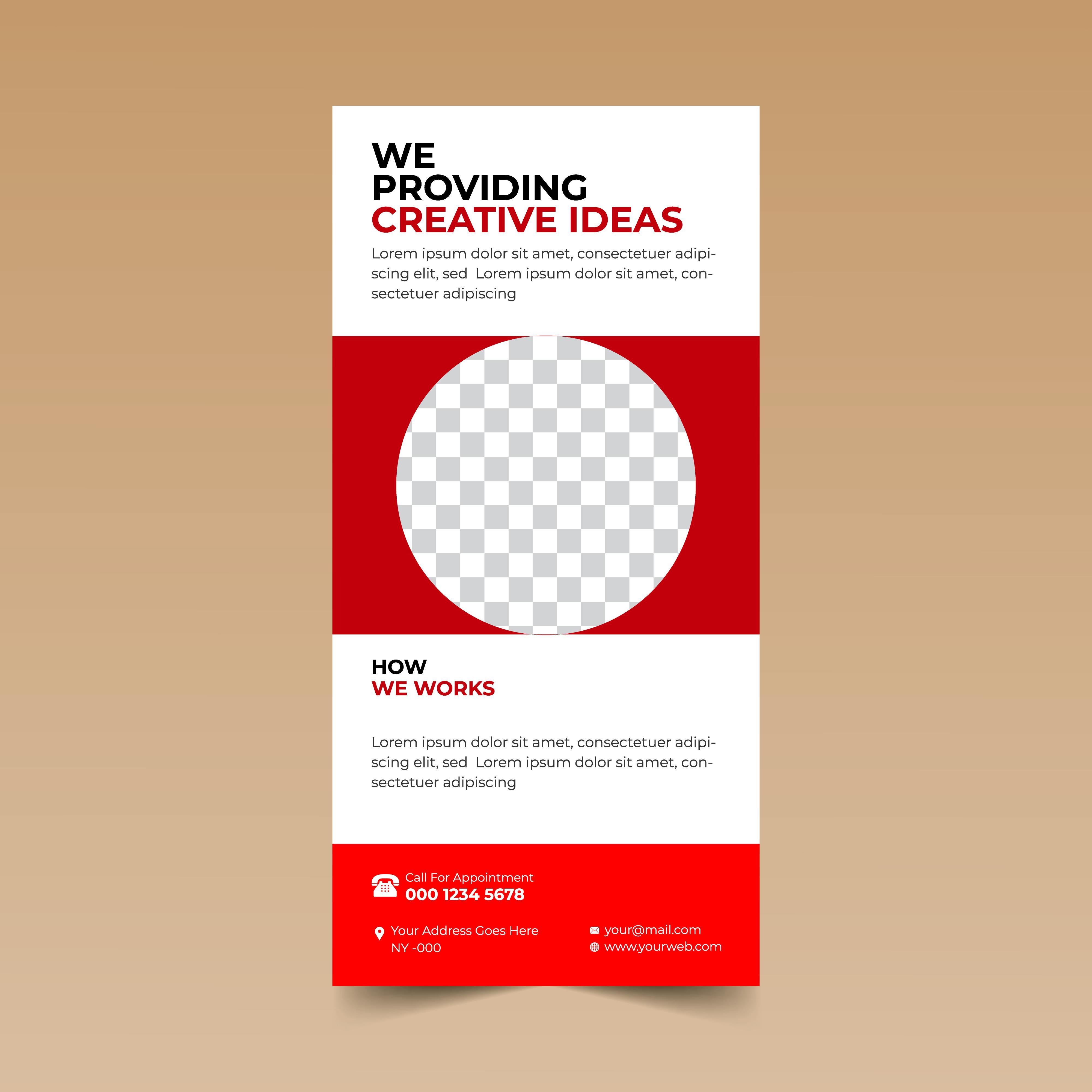 red vertical brochure card design template  download free