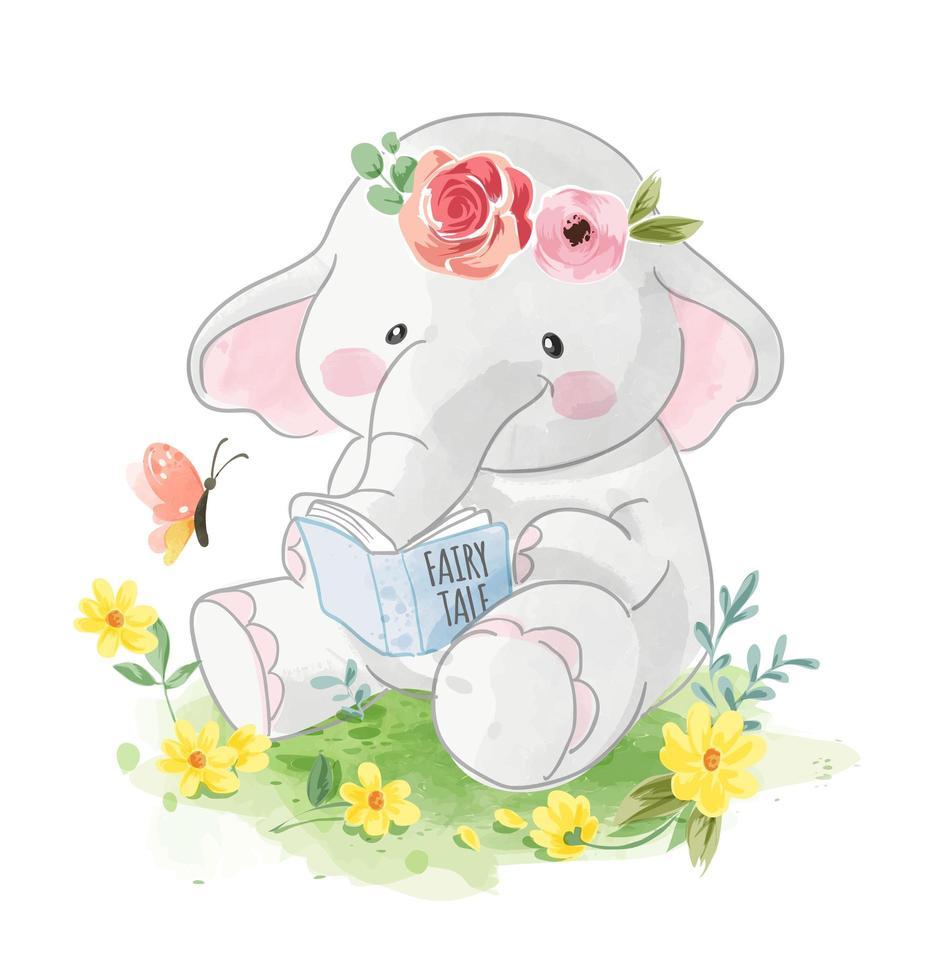 elefante leyendo un libro en el jardín vector