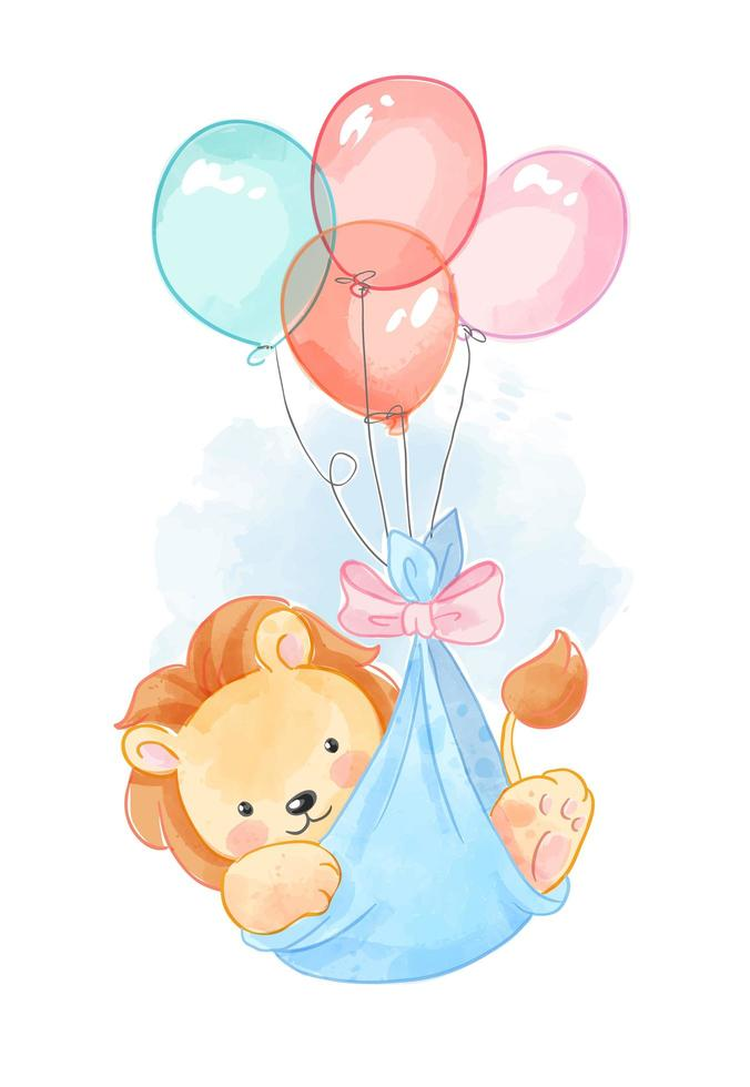 Lion in Balloon Cradle vector