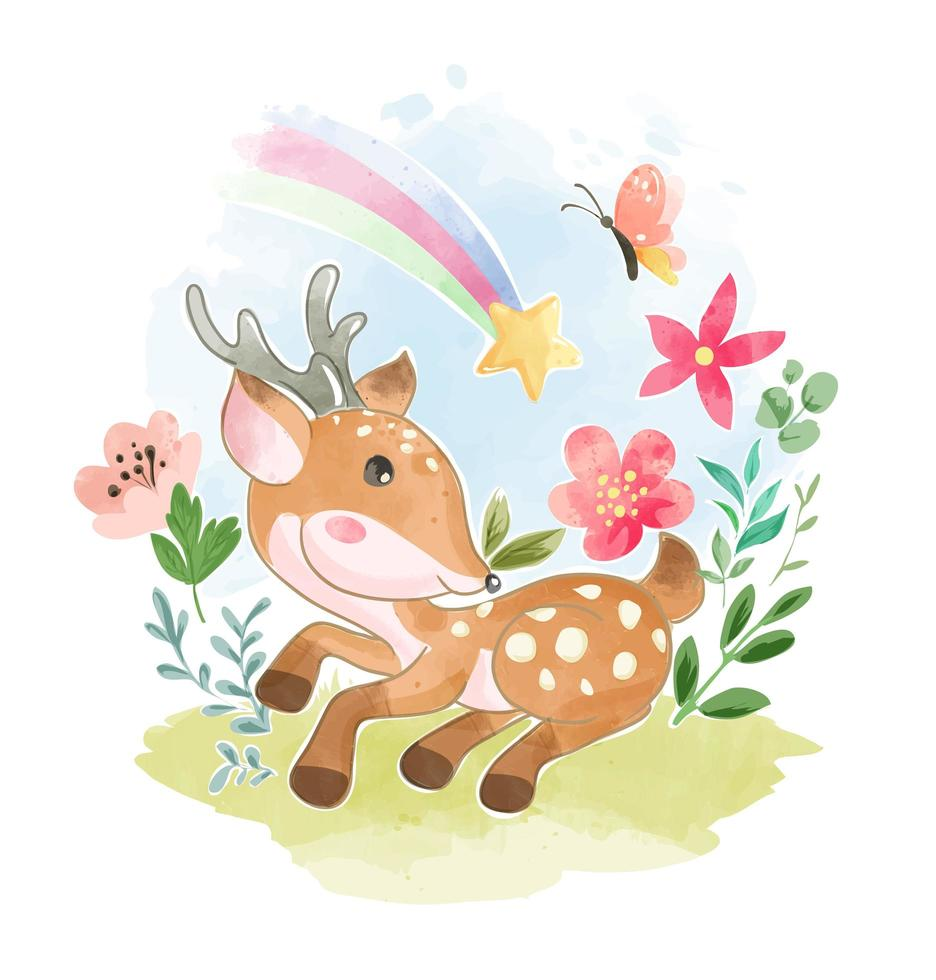 ciervos en jardín con mariposas y arcoiris vector