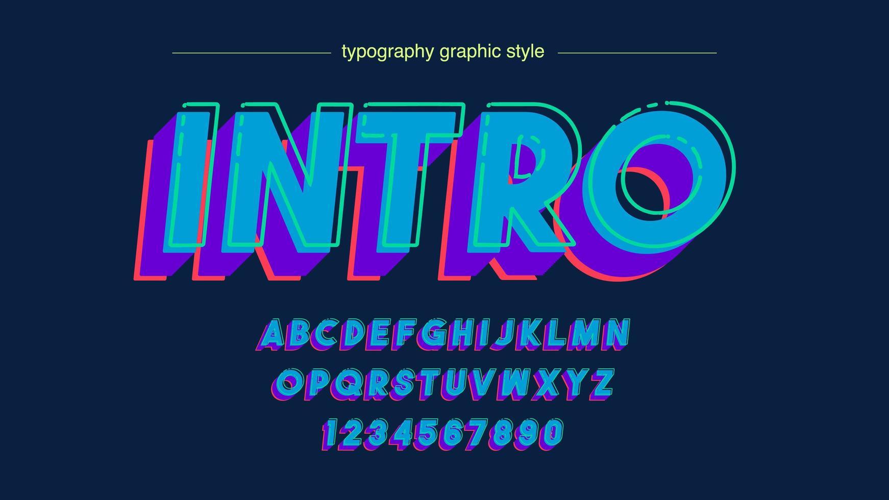 tipografía mayúscula 3d negrita azul vector