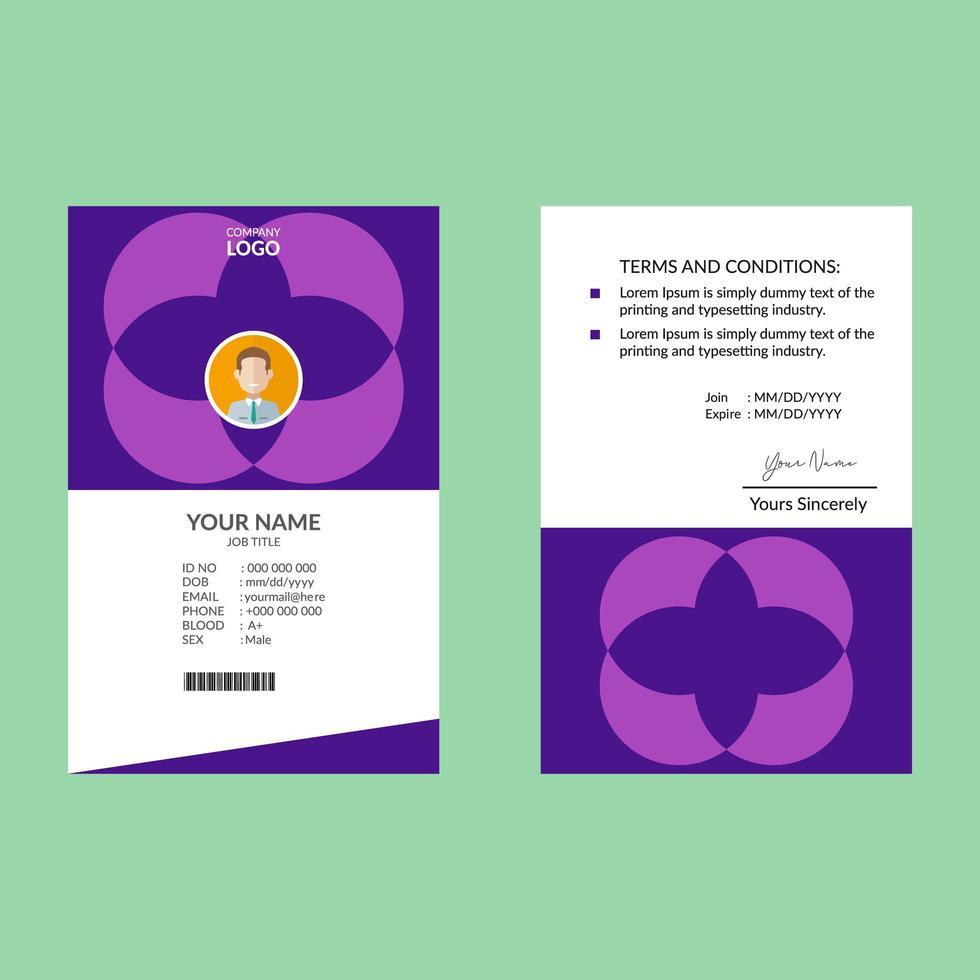 plantilla de diseño de tarjeta de identificación vertical id púrpura vector