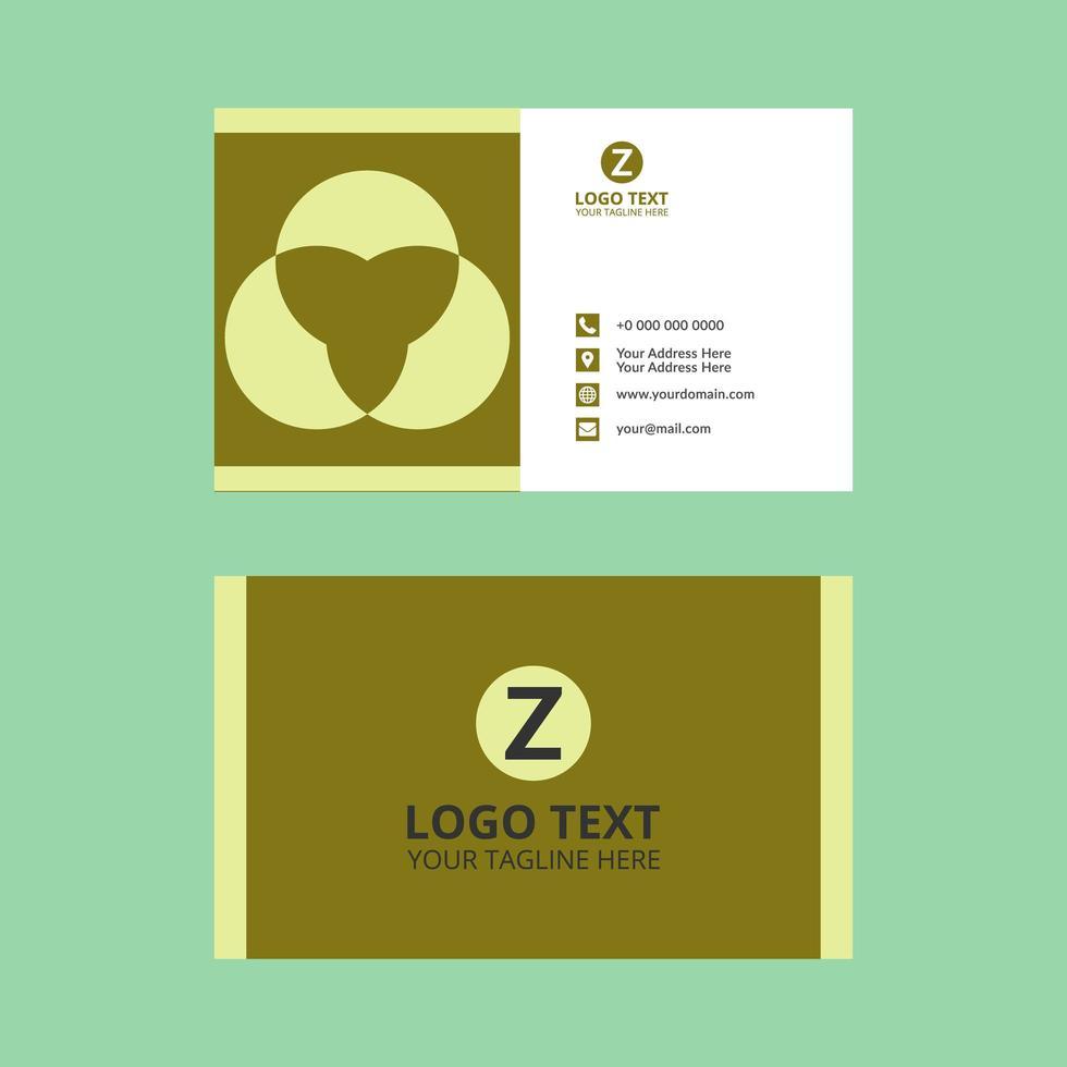 plantilla de tarjeta de visita verde lima claro vector