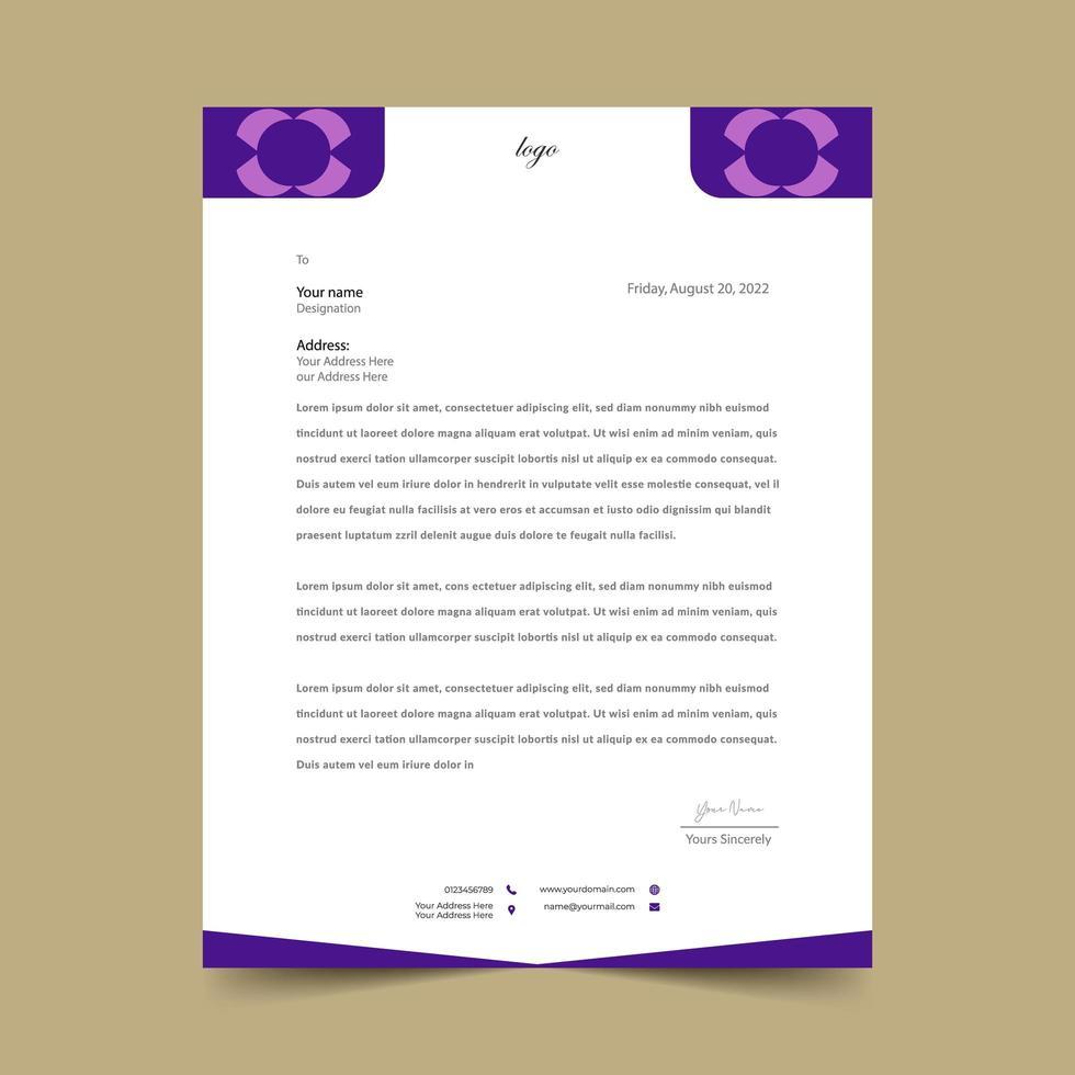 plantilla de membrete geométrica simple púrpura y blanco vector