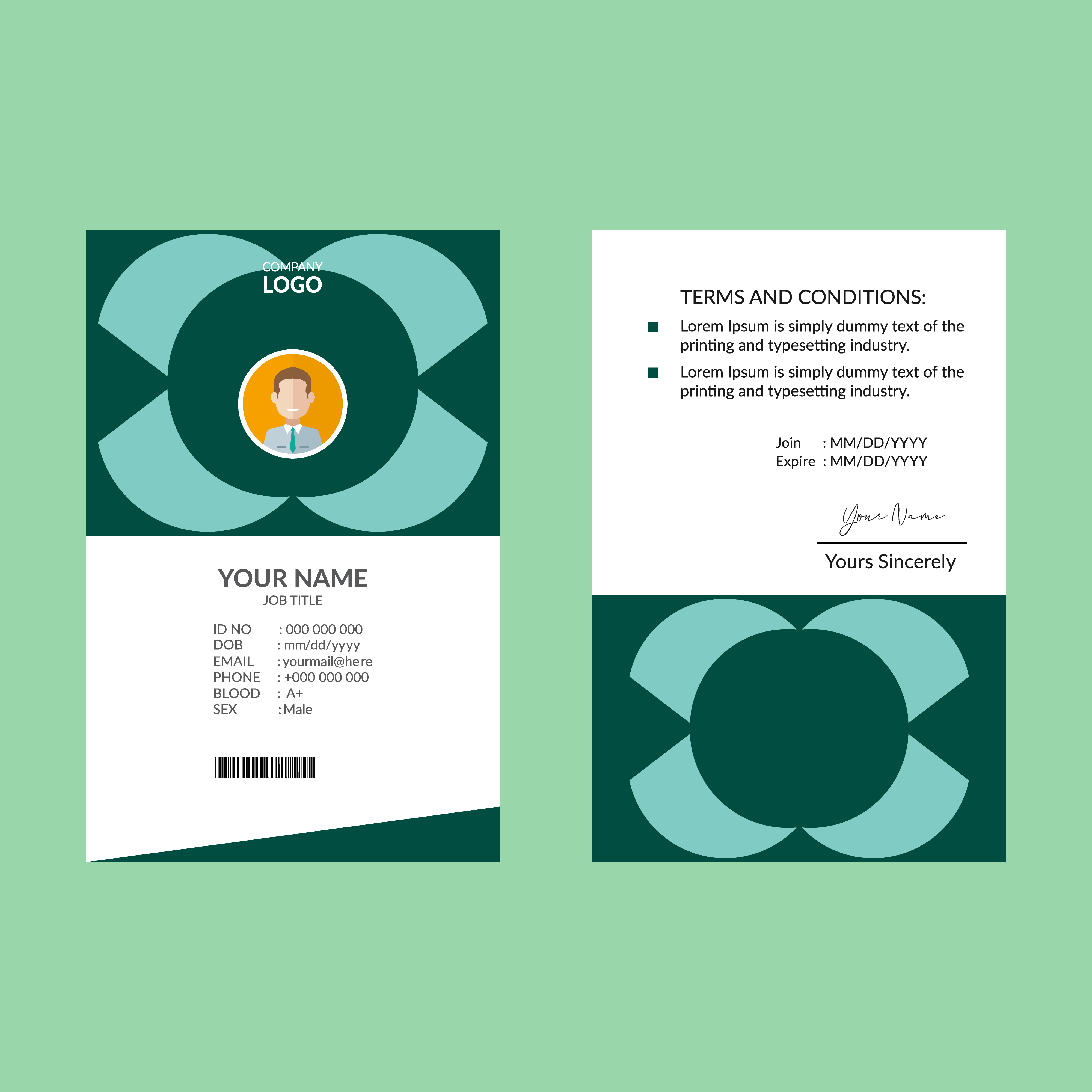 teal green vertical id card design template 833954