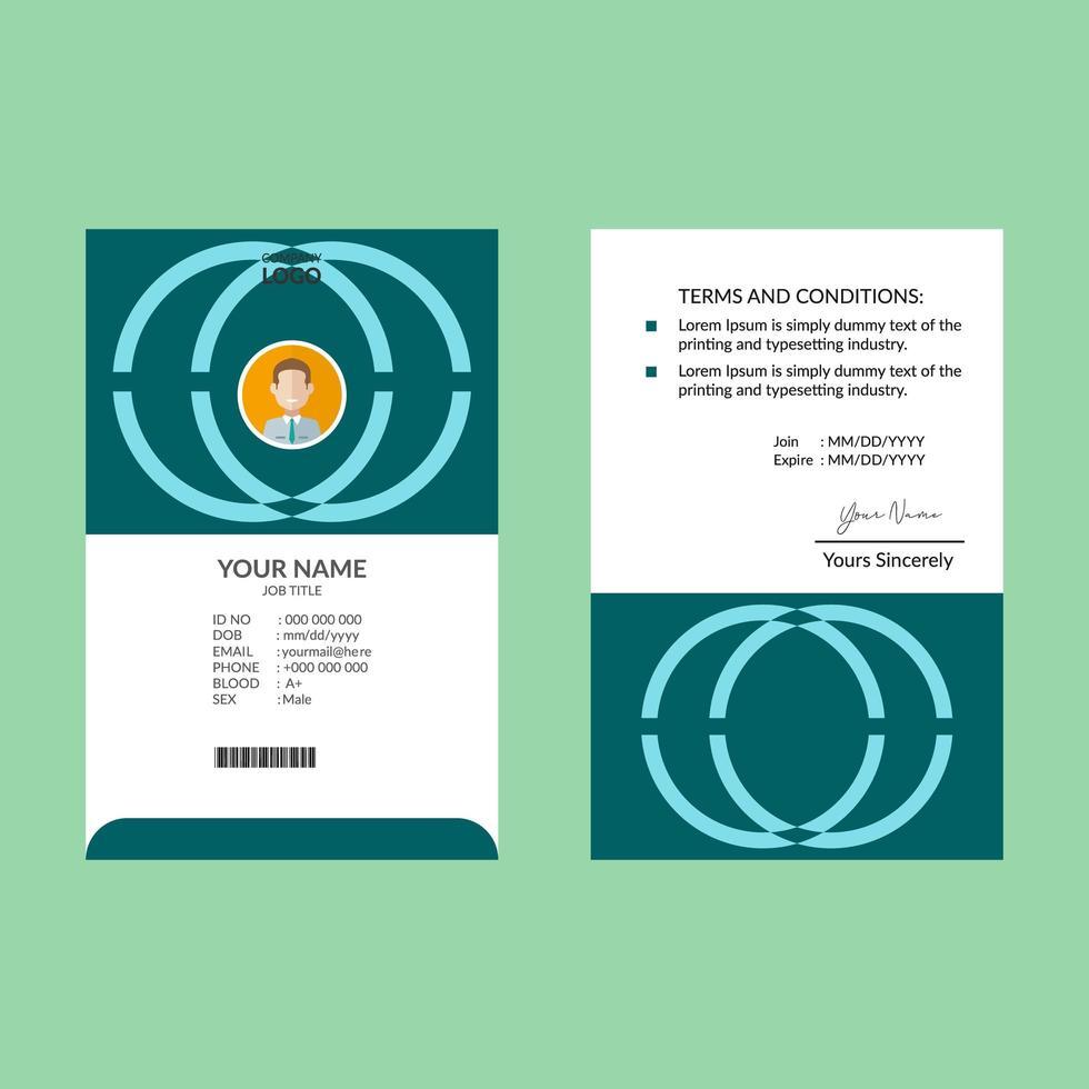 plantilla de diseño de tarjeta de identificación cian vector