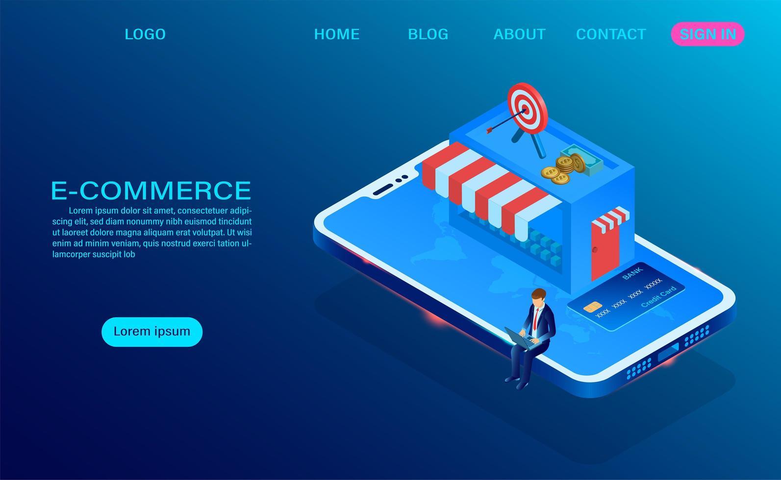 concepto de compras en línea de comercio electrónico vector