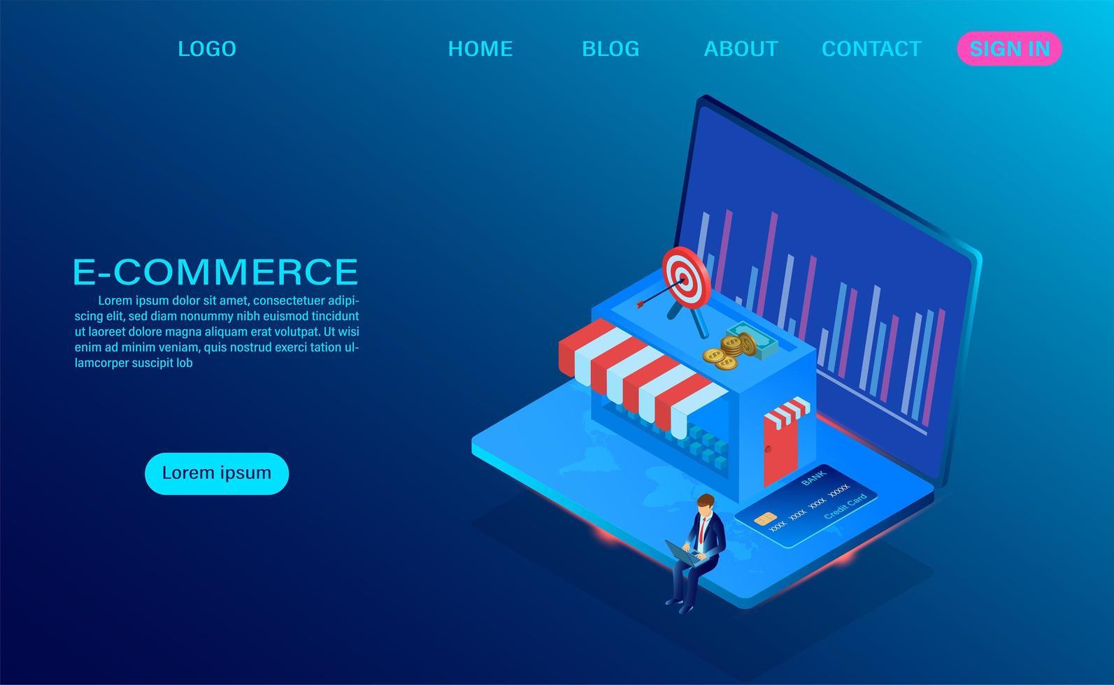 comercio electrónico de compras en línea con concepto de computadora portátil vector