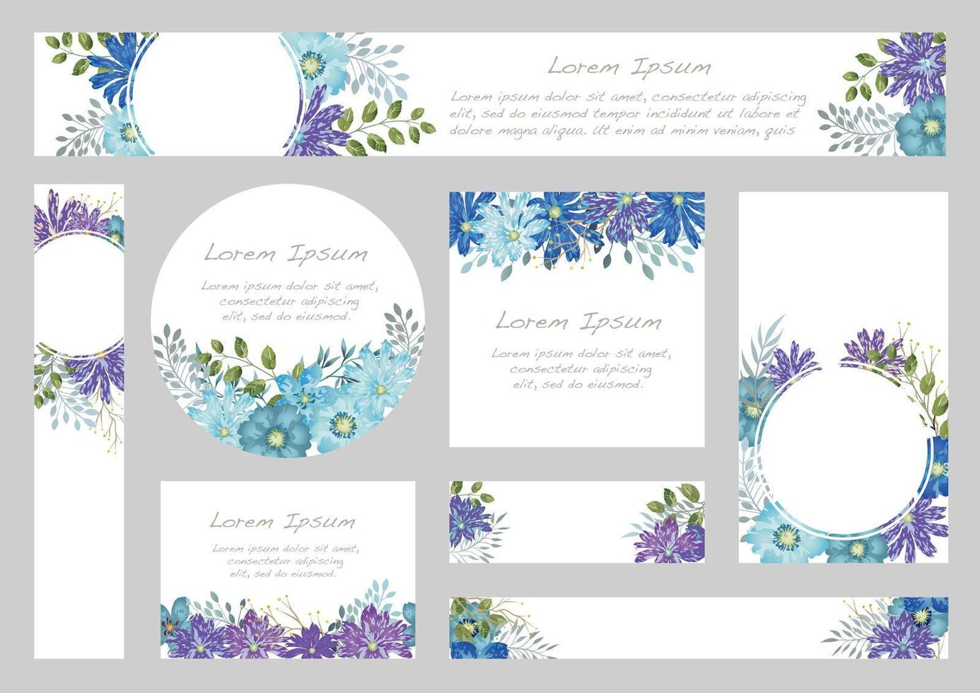 Set of Watercolor Floral Backgrounds With Text Space vector