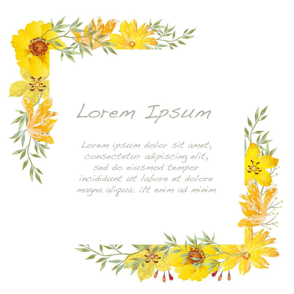 Yellow Watercolor Floral Frame vector