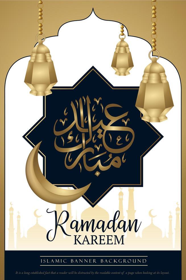 Blue and Gold Ramadan Kareem Poster Design vector