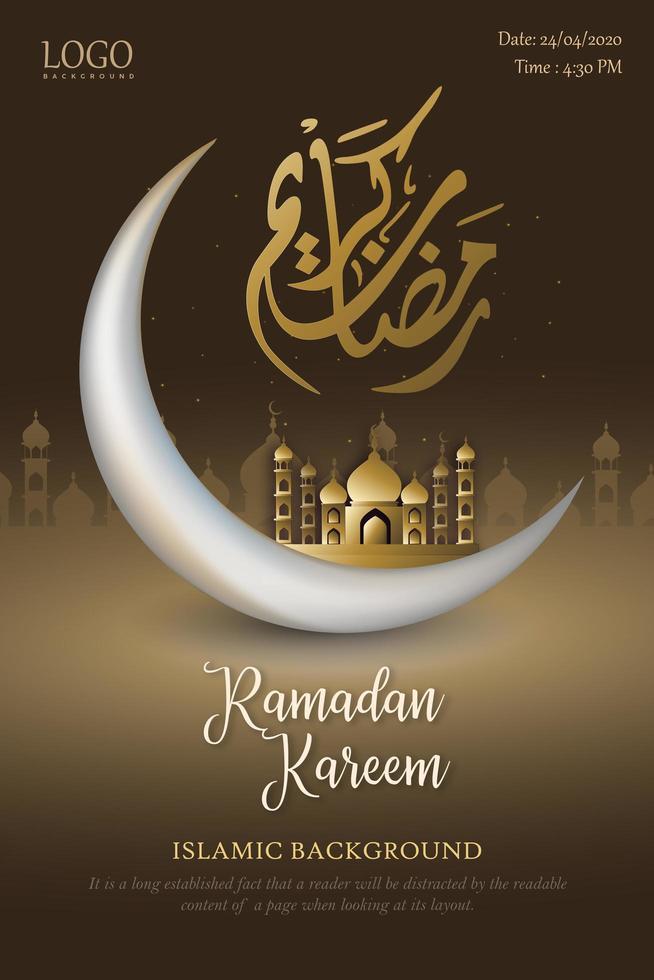 diseño de cartel marrón y dorado de Ramadán Kareem vector