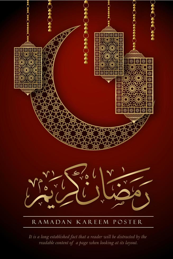 Ramadan Kareem Poster with Ornate Elements on Red vector