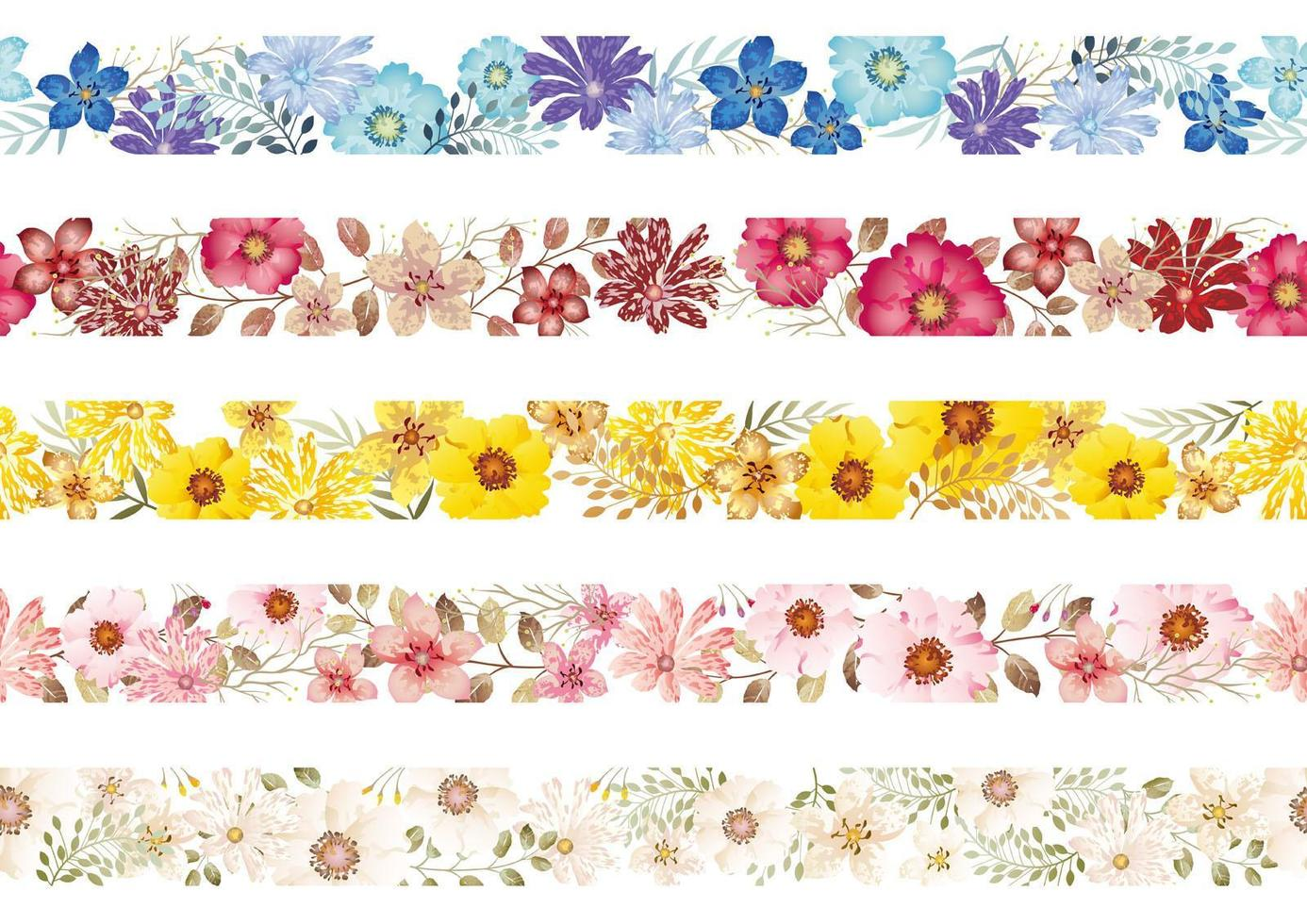 Set Of Seamless Watercolor Floral Borders  vector