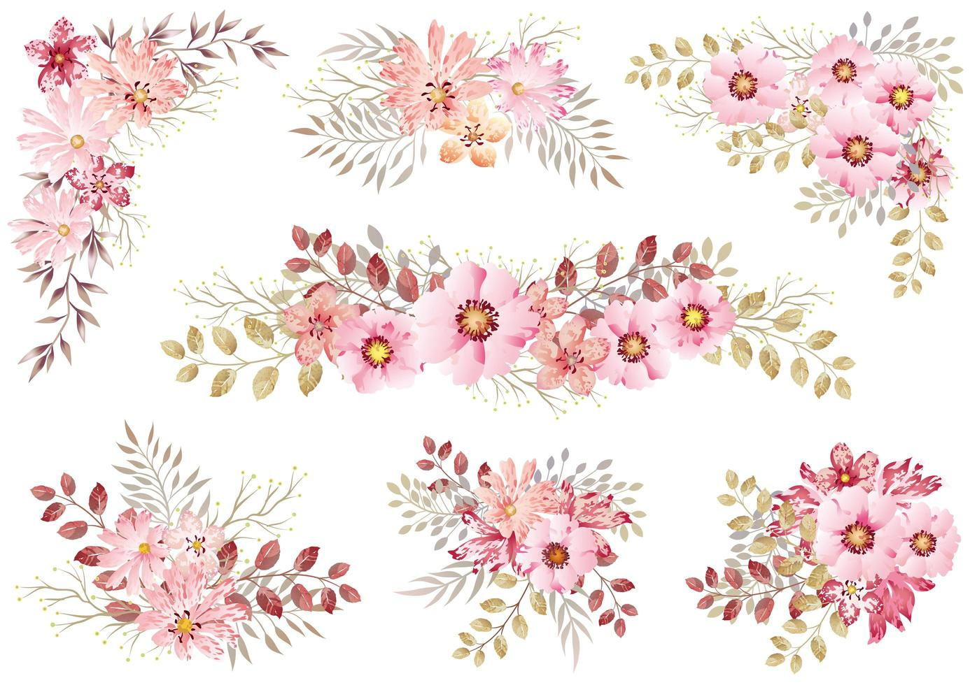 Set Of Pink Watercolor Floral Elements  vector