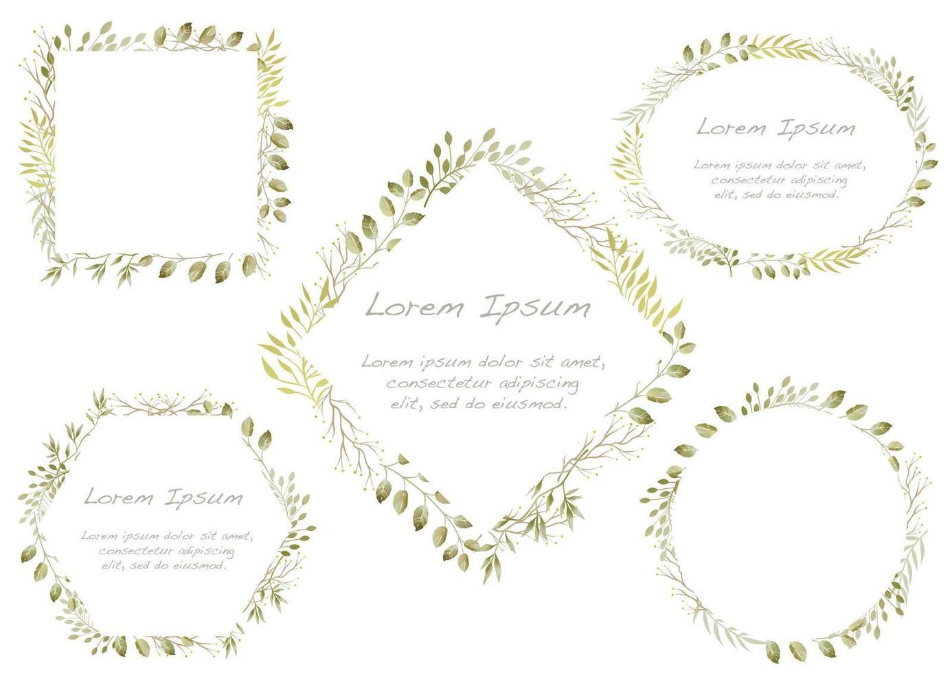 Set Of Green Watercolor Floral Frames  vector