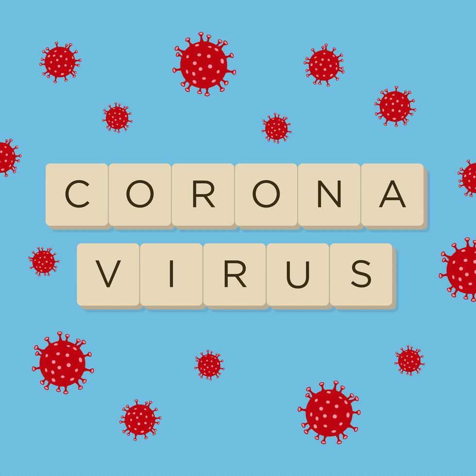 texte de coronavirus sur bleu avec des globules rouges vecteur