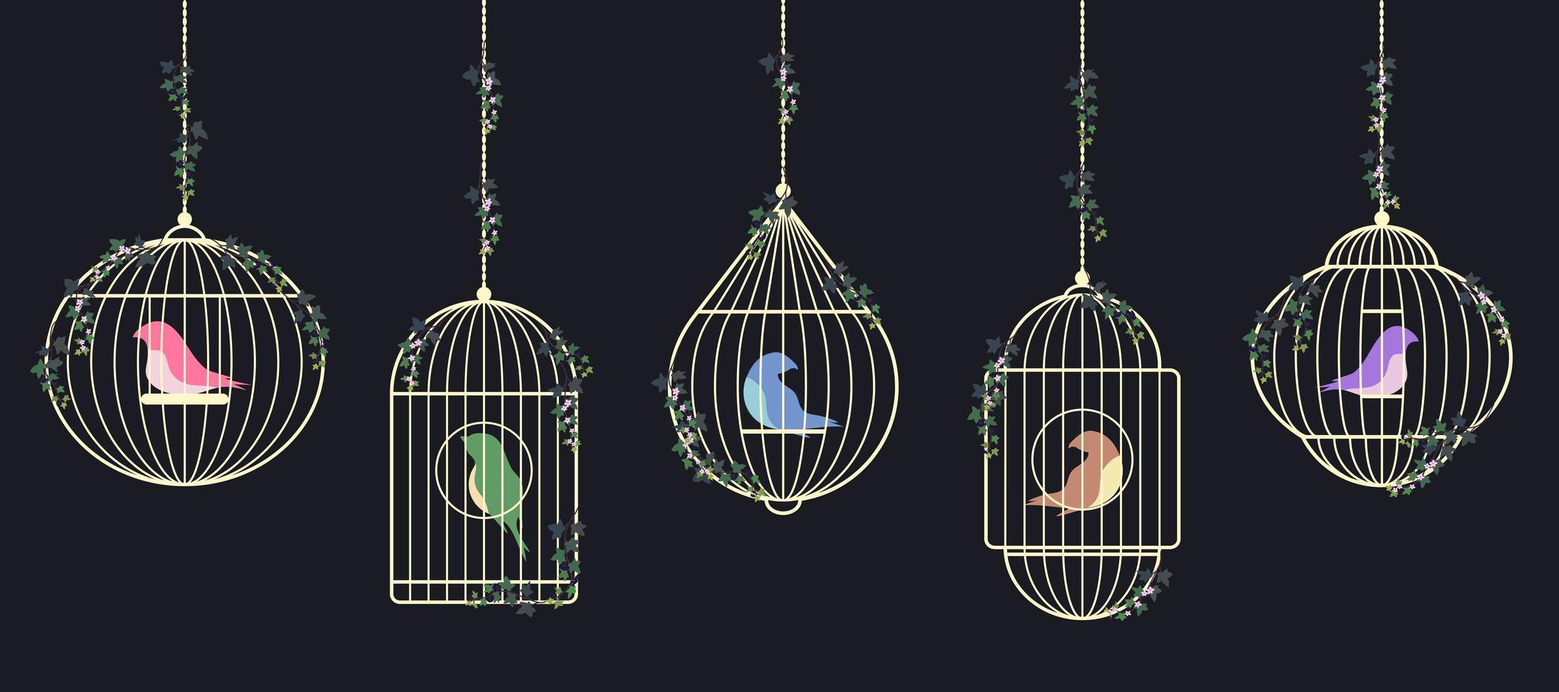conjunto de pájaros en jaulas doradas vector