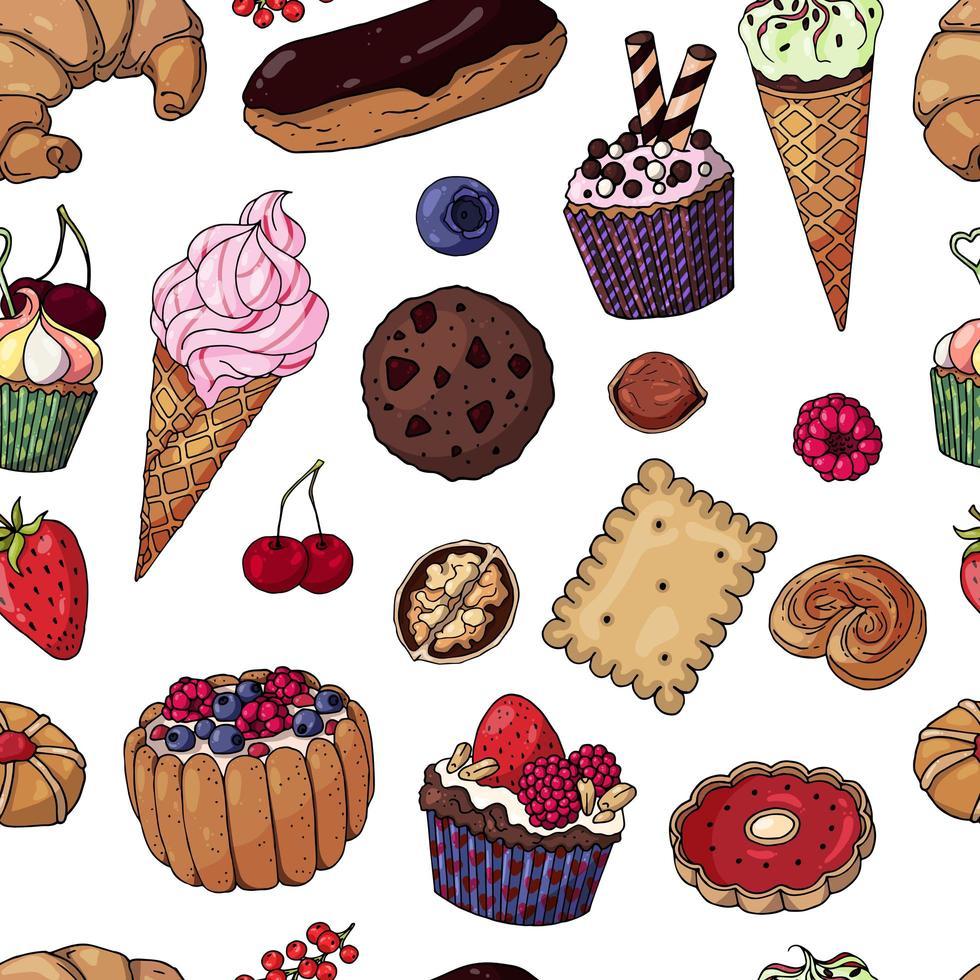 productos de panadería multicolor de patrones sin fisuras vector