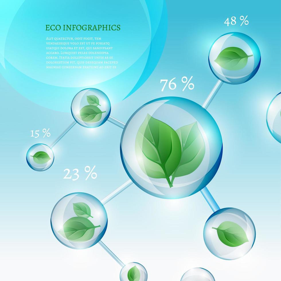 infografía bio burbujas con hojas vector