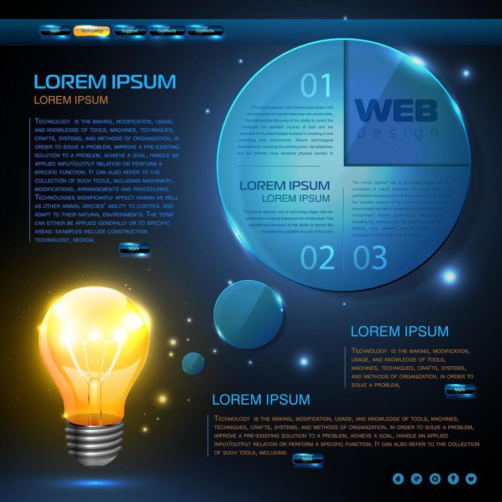 conjunto de elementos web o infografía que brilla intensamente azul vector