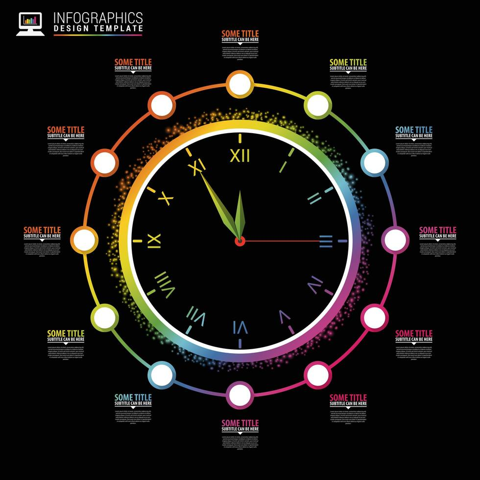 tabla de infografía en diseño de reloj vector