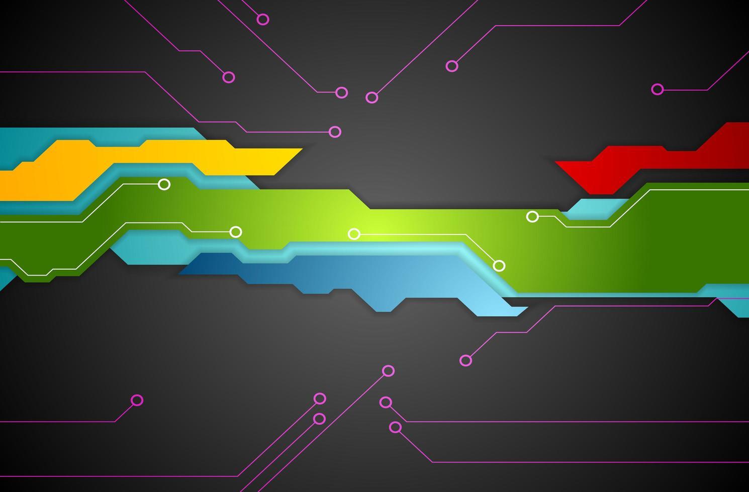 Fondo de tecnología de forma abstracta colorida vector