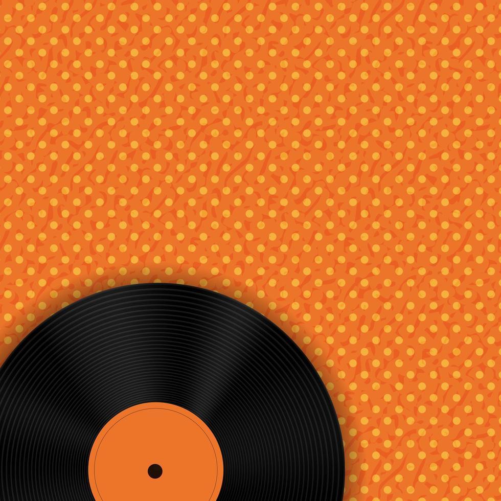 enregistrement de musique sur fond orange avec des points vecteur