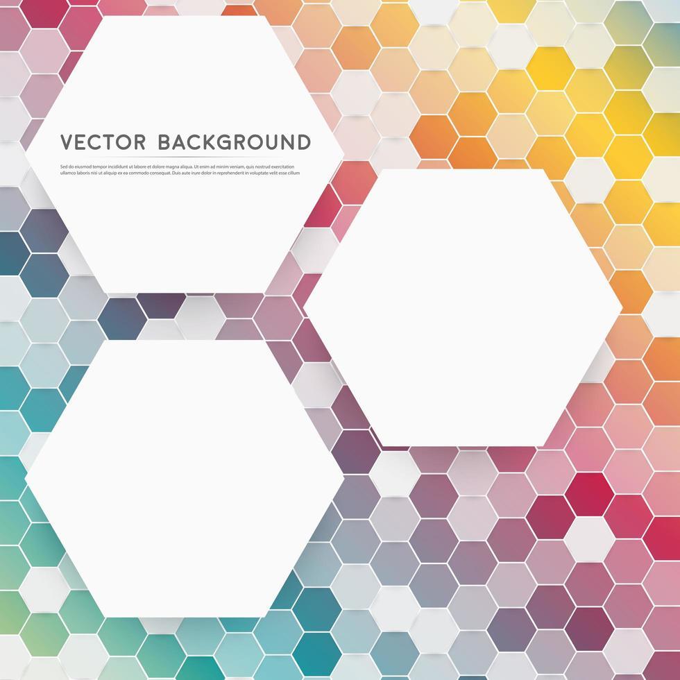 patrón de hexágono colorido con hexágonos blancos vector