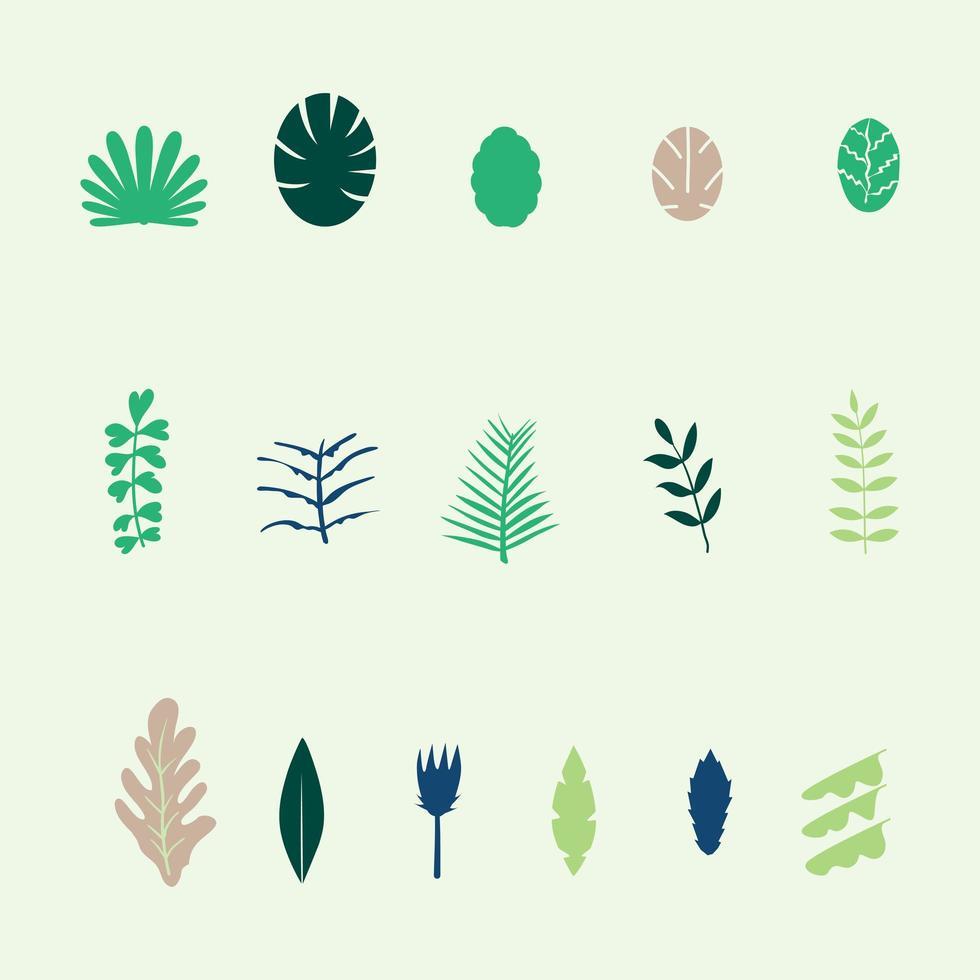conjunto de iconos de varias formas de hojas vector