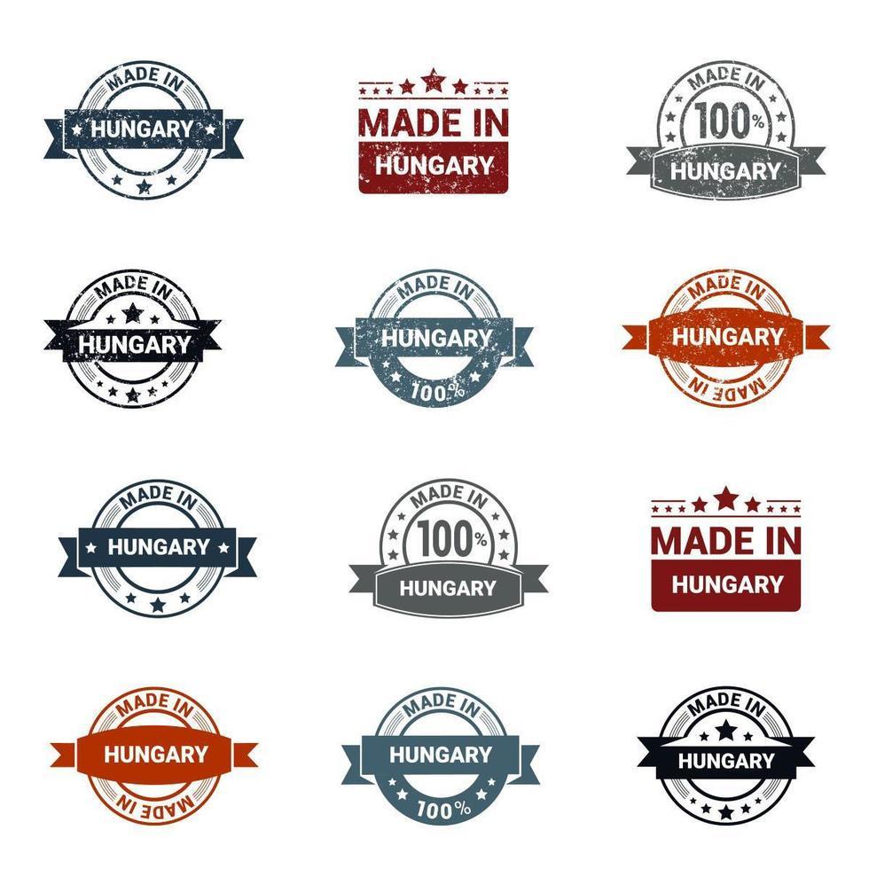 estilo grunge hecho en conjunto de sellos de Hungría vector