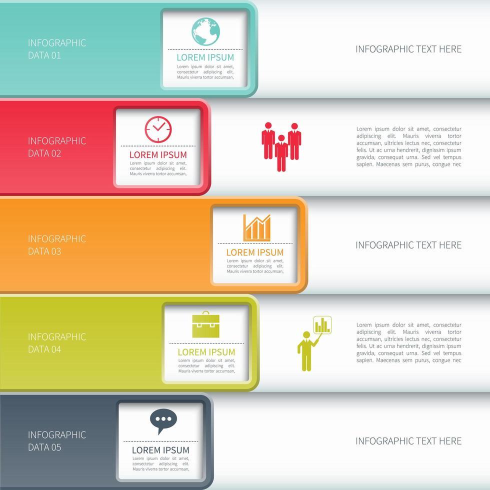 Infografía de negocios con recortes cuadrados vector