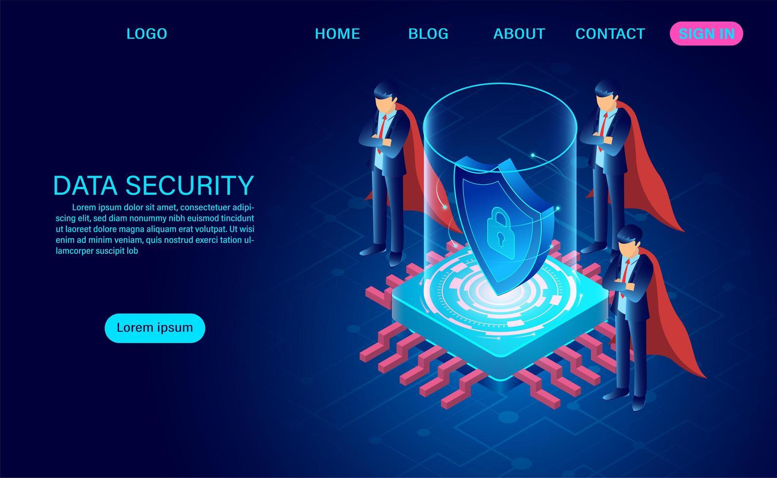 hombres de negocios en capas protegiendo datos de ataques vector