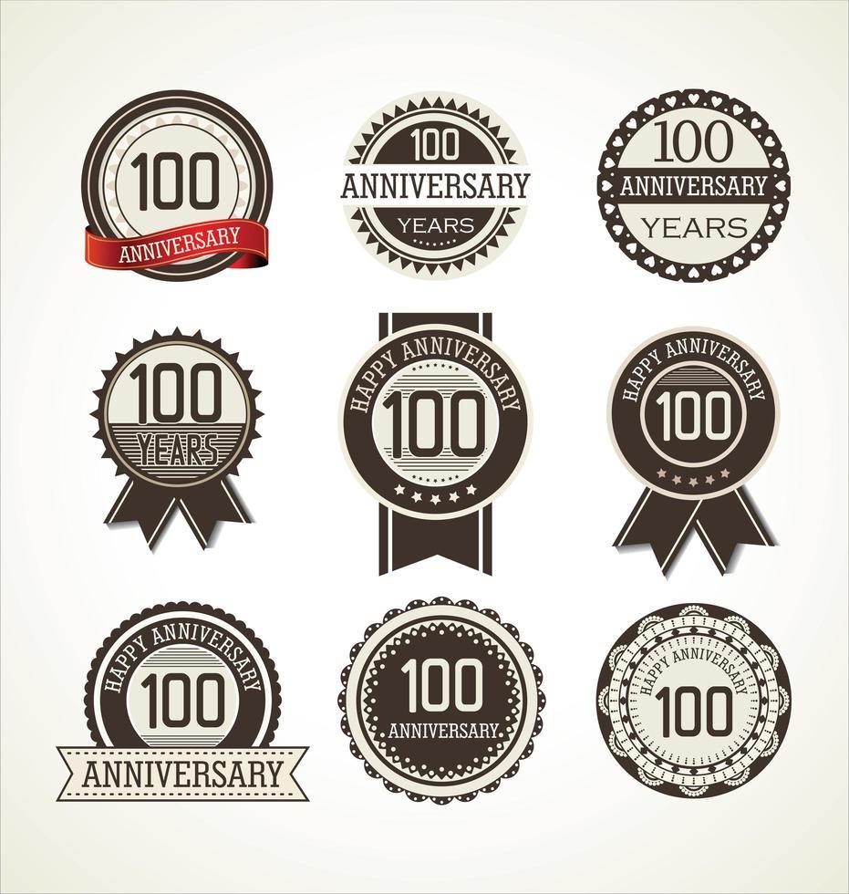 Set de insignias redondas del 100 aniversario vector
