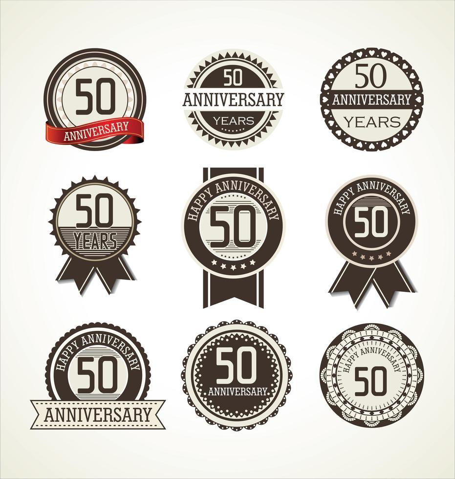 Conjunto de insignias redondas del 50 aniversario vector