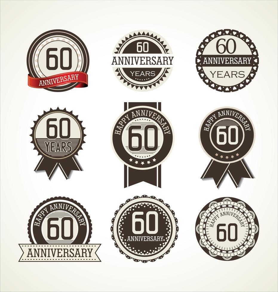 Conjunto de placa retro 60 aniversario vector