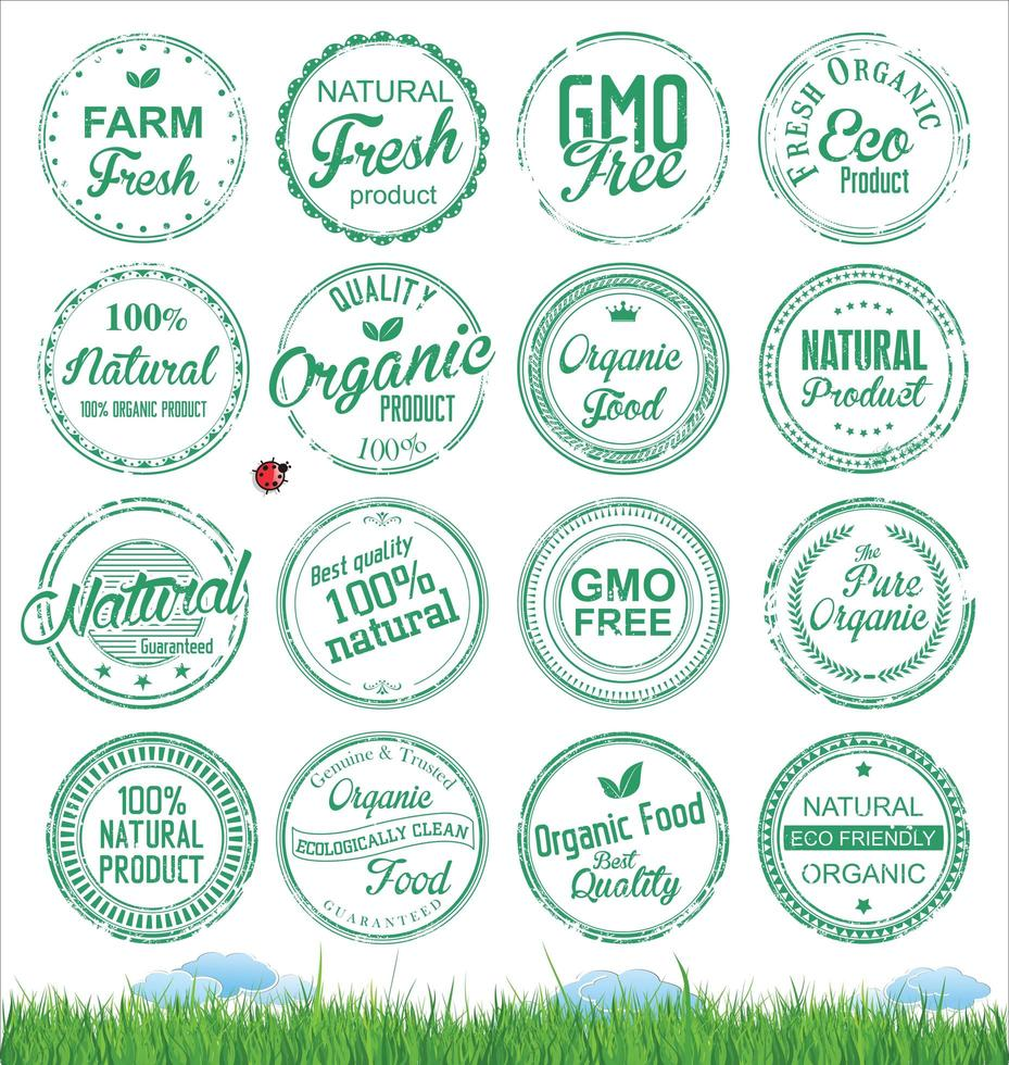 Organic Natural Food Stamp Collection vector