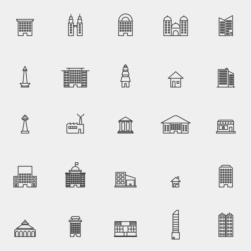 City Buildings Line Icon Set vector