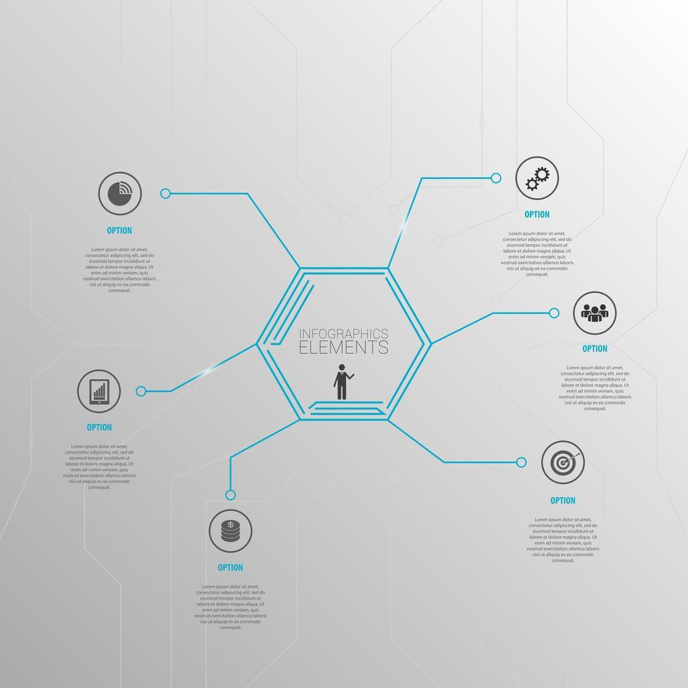 infografía hexagonal con iconos vector