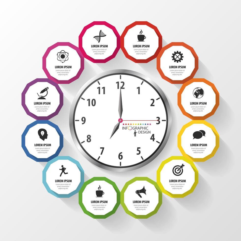 reloj en círculo de iconos de información vector